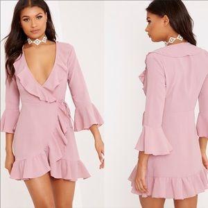 PLT Ilisha Dusty Pink Frill Tea Dress Size 4